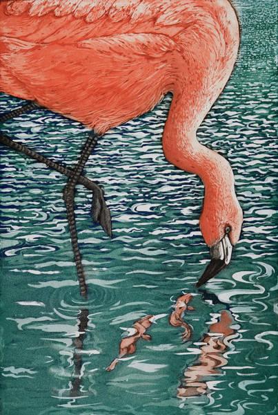 Flamingo Drawing - Flamenco Flamenco, 2013, (etching/aquatint) by Jane Peart
