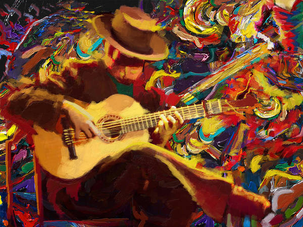 Corporate Art Task Force Wall Art - Painting - Flamenco Guitarist by Corporate Art Task Force