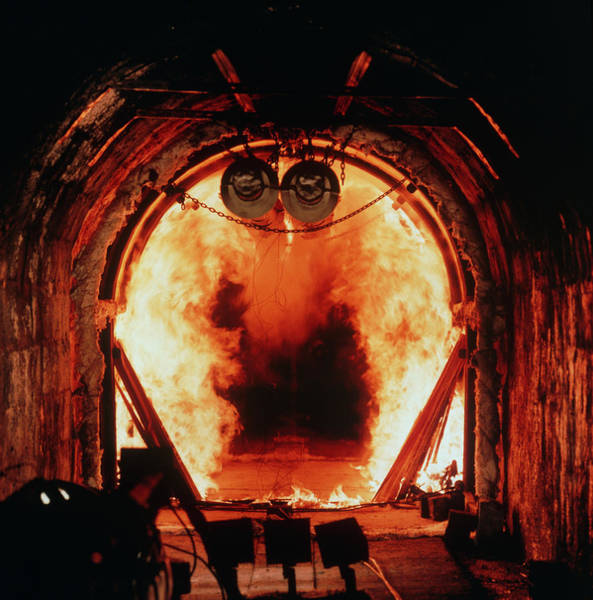 Wall Art - Photograph - Flames During Fire Test Of Tunnel Lining by Crown Copyright/health & Safety Laboratory /science Photo Library