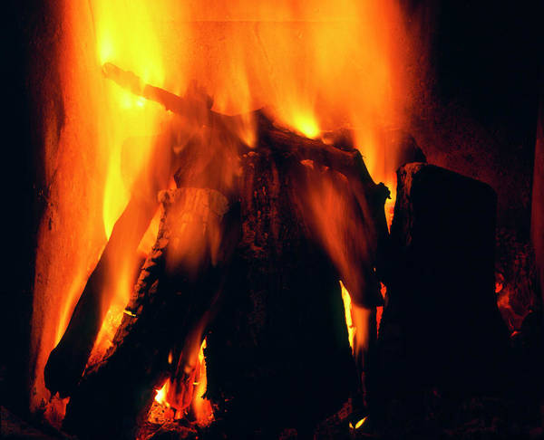 Logs Photograph - Flames From A Domestic Log Fire by Adam Hart-davis/science Photo Library