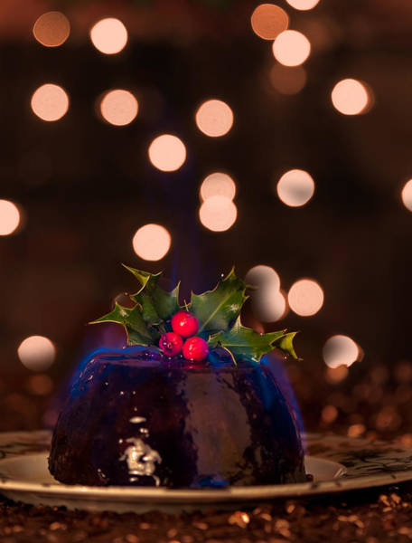 Blue Berry Photograph - Flaming Christmas Pudding by Amanda Elwell