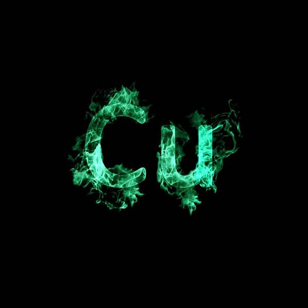 Atomic Photograph - Flaming Copper Symbol Cu by Science Photo Library