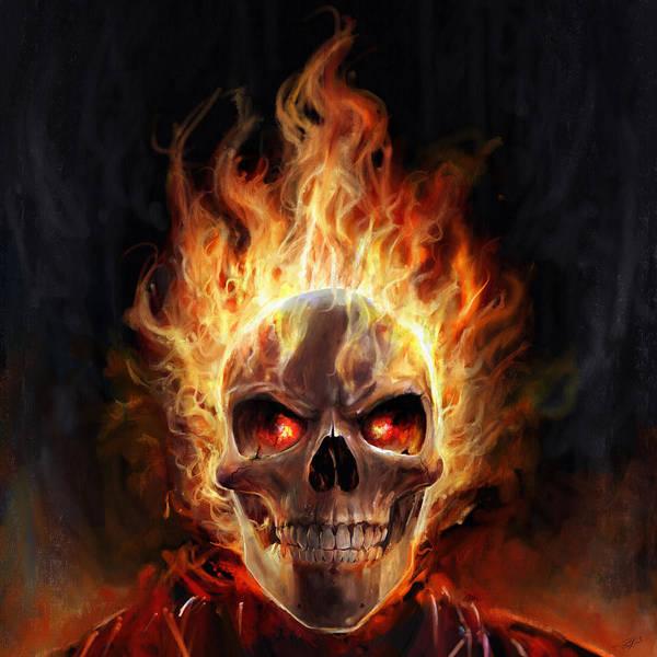Comic Wall Art - Digital Art - Flaming Skull by Steve Goad