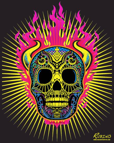 Painting - Flaming Skull by Tony Rubino