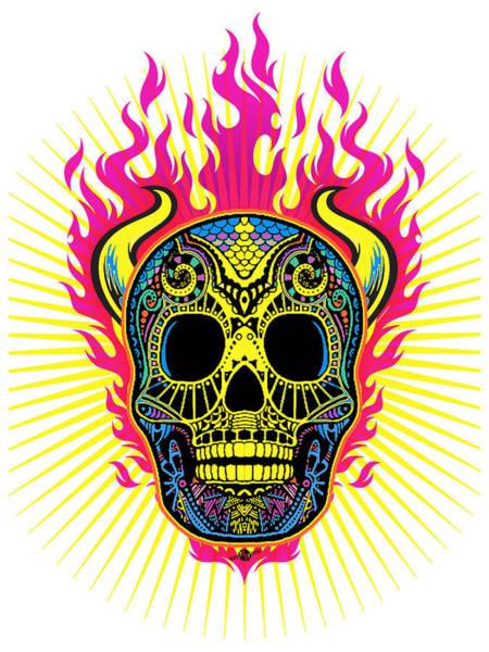 Painting - Flaming Skull White by Tony Rubino