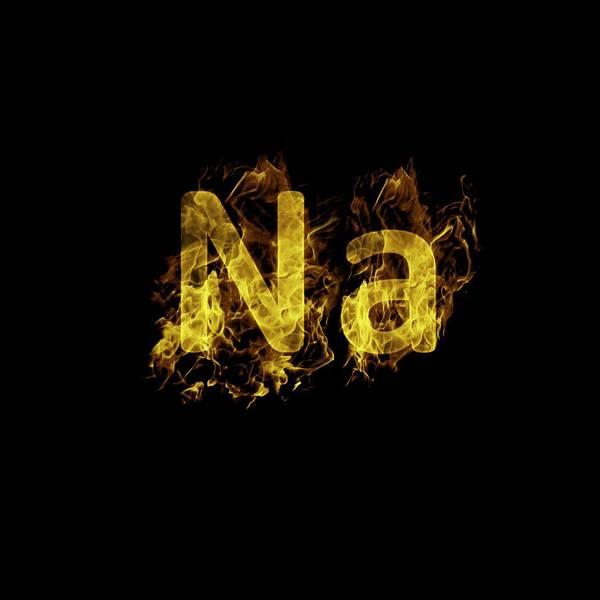 Elemental Photograph - Flaming Sodium Symbol Na by Science Photo Library