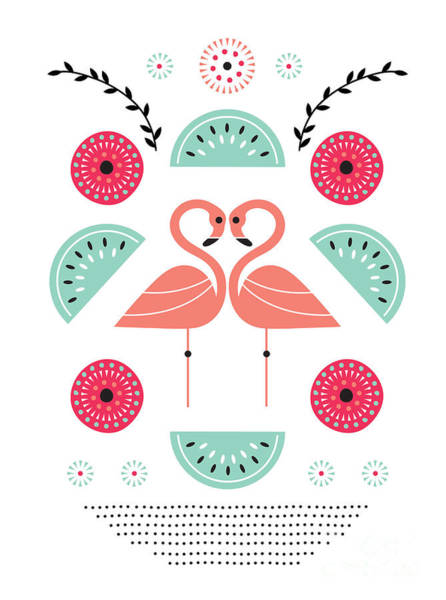 Symmetrical Digital Art - Flamingo Flutter by MGL Meiklejohn Graphics Licensing
