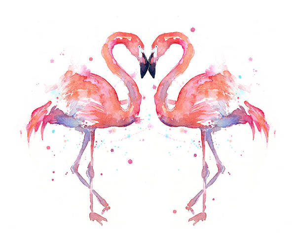 Decor Painting - Flamingo Love Watercolor by Olga Shvartsur