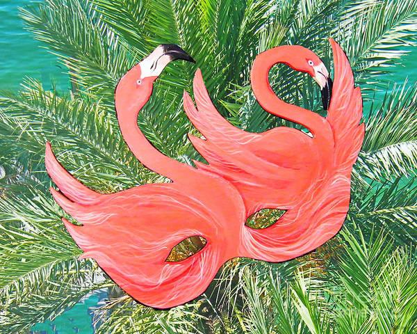 Mixed Media - Flamingo Mask 1 by Lizi Beard-Ward