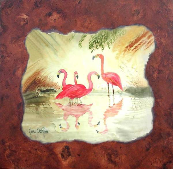 Painting - Flamingo On Burl by Gary Partin