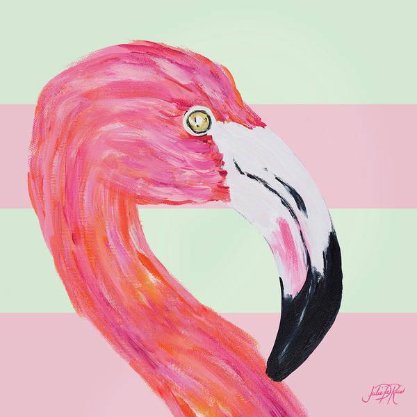 Wall Art - Digital Art - Flamingo On Stripes I by Julie Derice