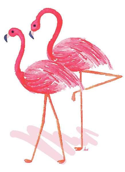 Flamingo Watercolor Painting - Flamingo Walk Watercolor II by Andi Metz