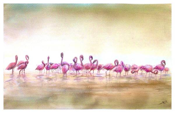 Flamingoes Land Art Print