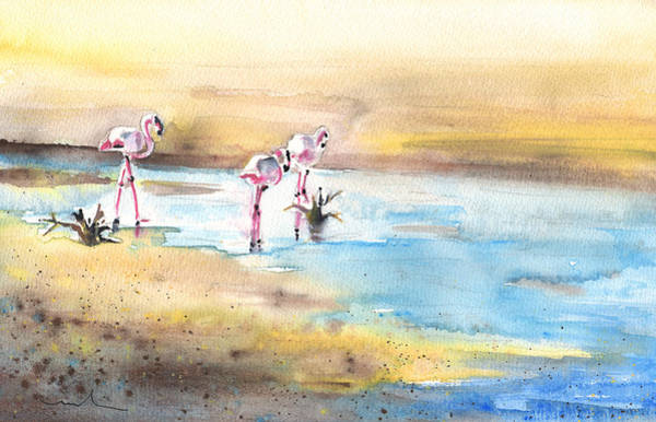 Painting - Flamingos In Camargue 01 by Miki De Goodaboom
