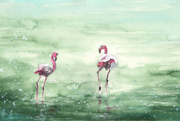 Painting - Flamingos In Camargue 02 by Miki De Goodaboom
