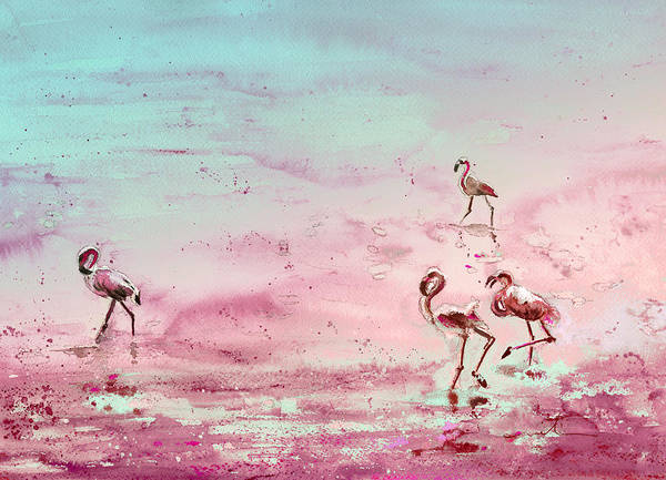 Painting - Flamingos In Camargue 03 by Miki De Goodaboom