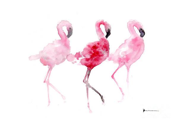 Flamingos Painting Watercolor Art Print Art Print