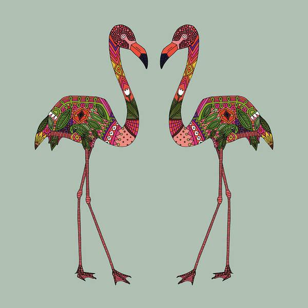 Flamingo Drawing - Flamingos Seafoam by MGL Meiklejohn Graphics Licensing