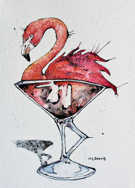 Flamingos Wall Art - Drawing - Flamingotini by Mark M  Mellon