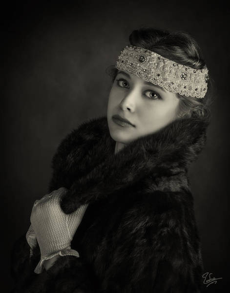 Photograph - Flapper Girl In Black And White by Endre Balogh