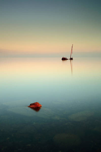 Photograph - Flat Calm Shipwreck Sunrise by Grant Glendinning