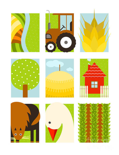 House Digital Art - Flat Childish Rectangular Agriculture by Popmarleo