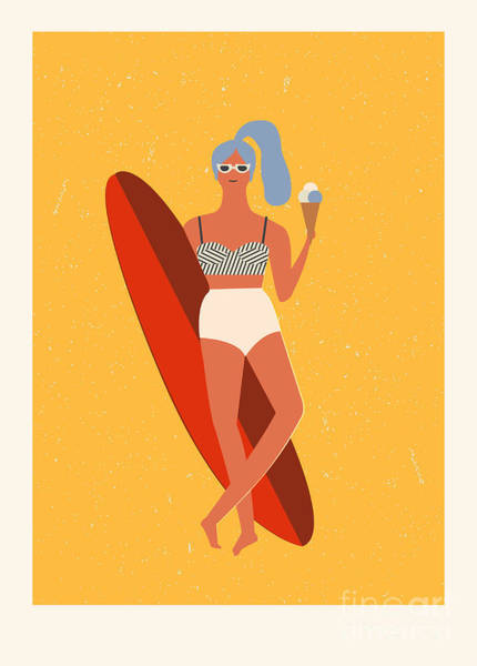 Surfer Digital Art - Flat Illustration With Surfer Girl With by Tasiania