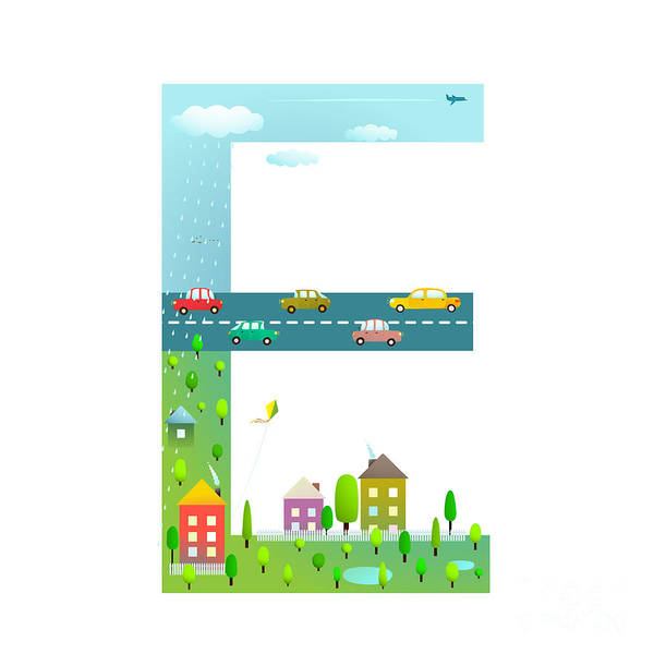 Symbol Photograph - Flat Style Alphabet Letter E For Kids by Popmarleo