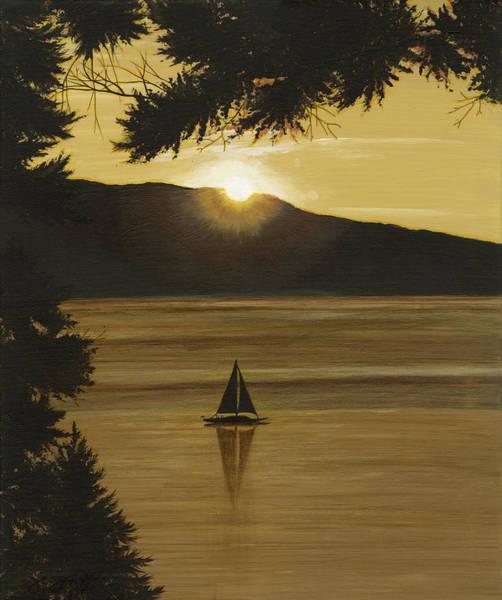 Sailboat Sunset Wall Art - Painting - Flathead Sunset by John Wyckoff