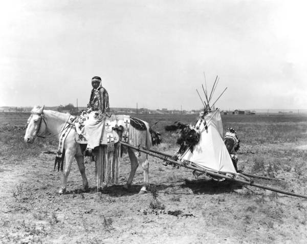 Montana State Photograph - Flathead Woman Uses Travois by Underwood Archives
