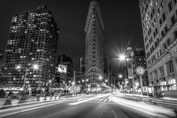 Photograph - Flatiron Building At Night Black And White by David Morefield