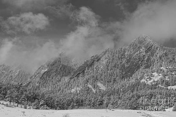Photograph - Flatiron Snow Dusting Boulder Colorado Black And White by James BO Insogna