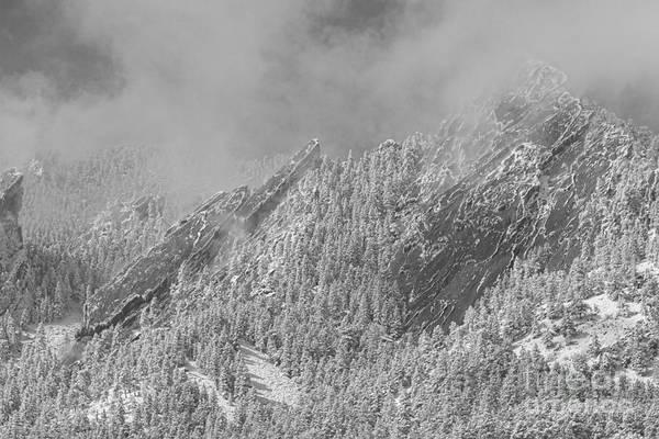 Photograph - Flatiron Snow Dusting Close Up Boulder Colorado Bw by James BO Insogna