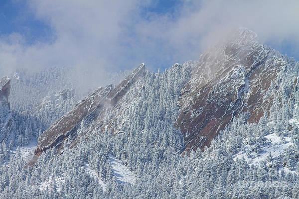 Photograph - Flatiron Snow Dusting Close Up Boulder Colorado by James BO Insogna