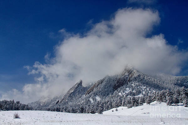 Photograph - Flatirons In The Clouds Boulder Colorado by James BO Insogna