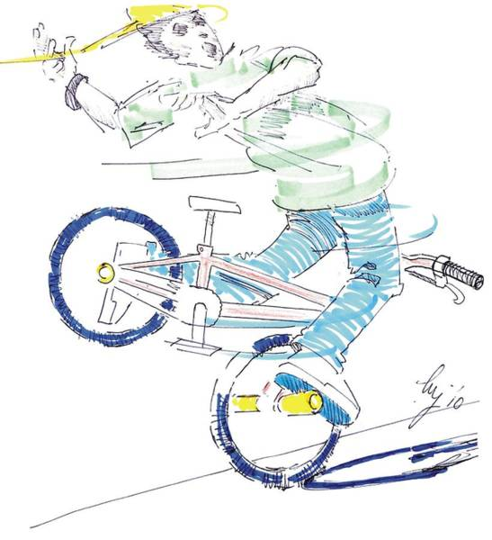 Drawing - Flatland Bmx by Mike Jory