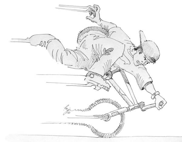 Drawing - Flatland Bmx Nose Wheelie by Mike Jory