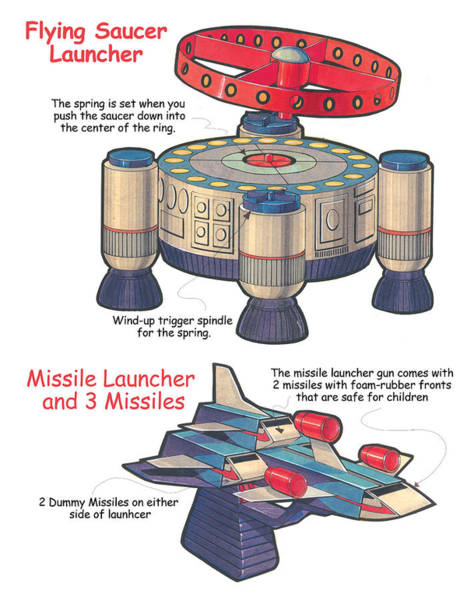 Saucer Drawing - Flying Saucer Launcher by Harold Shull