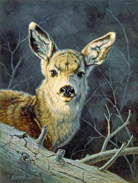 Fawn Painting - Fleeting Visit- Fawn by Paul Krapf