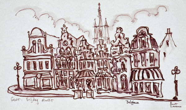 Ink Sketch Photograph - Flemish Architecture by Richard Lawrence