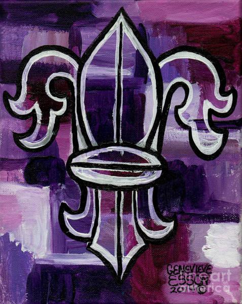 Fleur De Lys Painting - Fleur De Lis Purple Abstract by Genevieve Esson