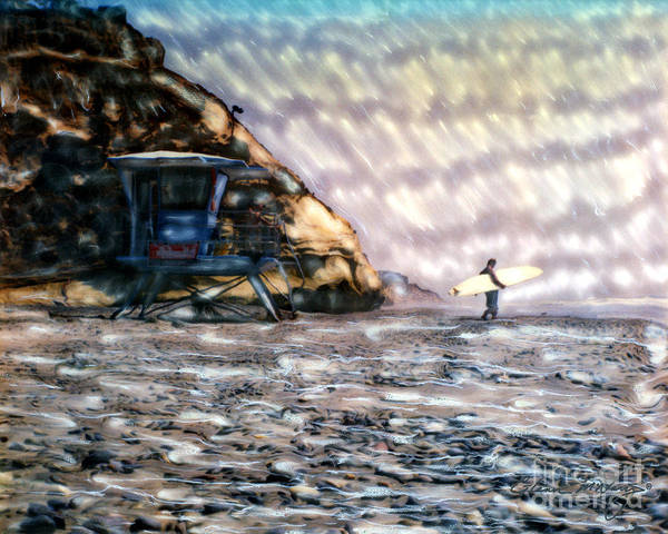 Mixed Media - Fletcher Cove Going Surfing by Glenn McNary