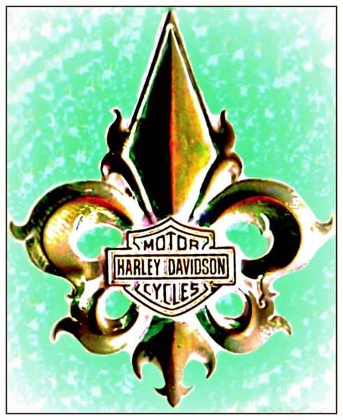 Photograph - Fleurs De Lys And Harley Davidson Logo Bronze Green by Danielle  Parent