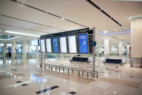 Tile Floor Wall Art - Photograph - Flight Information Display Boards At by Gary John Norman