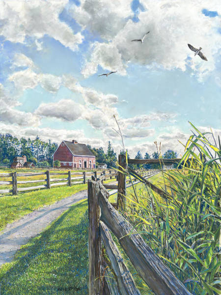 Fencepost Painting - Flight Of Seagulls by Nick Payne