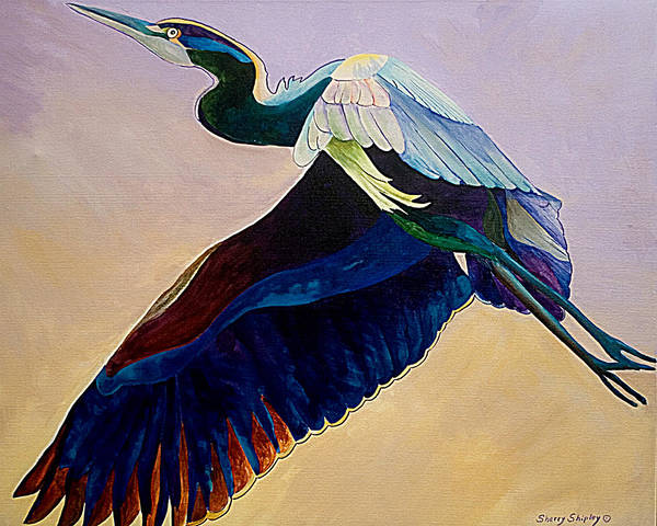 Painting - Flight Of The Heron by Sherry Shipley