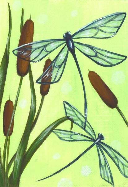 Wall Art - Painting - Flight Through The Cat Tails by Elaina  Wagner