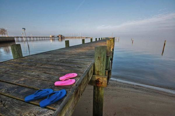 Photograph - Flip Flops On The Dock And Fairhop Dock by Michael Thomas