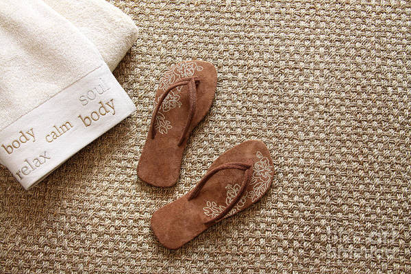 Wall Art - Photograph - Flip Flops With Towels On Seagrass Rug by Sandra Cunningham