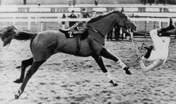 Dreary Photograph - Flipping Horse Rider by Retro Images Archive